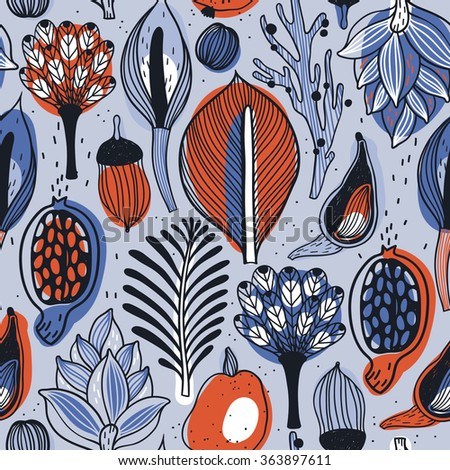 vector  seamless pattern with abstract hand drawn leaves, fruits and floral parts - stock vector