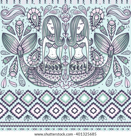 vector seamless pattern with fantasy mermaids and folk elements - stock vector