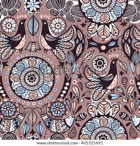 vector seamless pattern with folk elements, fish and birds on a brown background