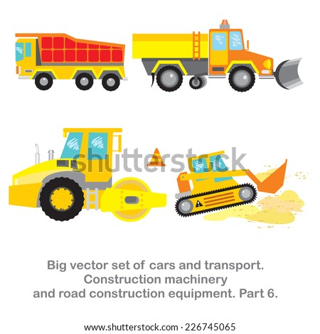 Vector set Construction machinery and road construction equipment. Part 6 of my big vector set of cars and transport. - stock vector