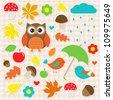 Vector set of autumnal stickers - stock vector