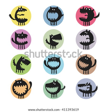 vector set of cartoon cute monsters - stock vector