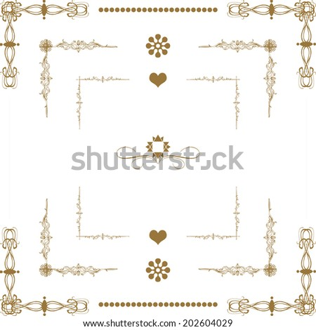 Vector set of  decorative  floral elements, corners, borders, frame. Page decoration. - stock vector