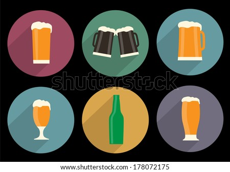 Vector set of flat beer icons with long shadow - stock vector