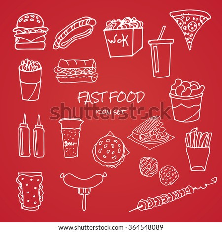 vector set of hand drawn fast food icons on red background - stock vector