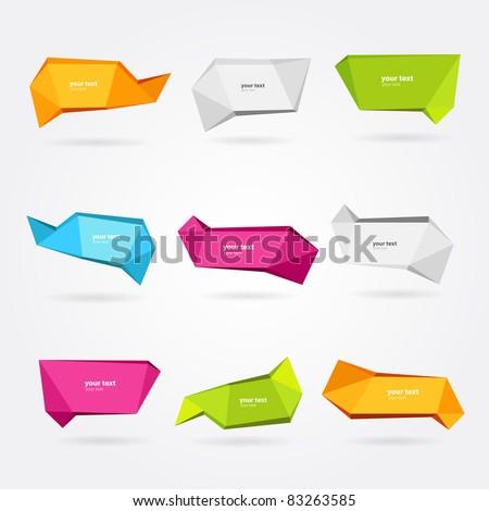 9 Vector set of origami banners - stock vector