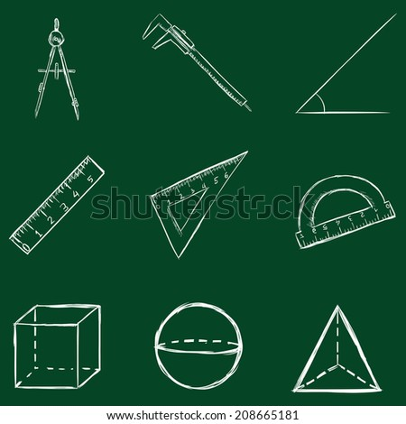 Vector Set of Sketch Geometry Icons. Chalk on a Blackboard. - stock vector