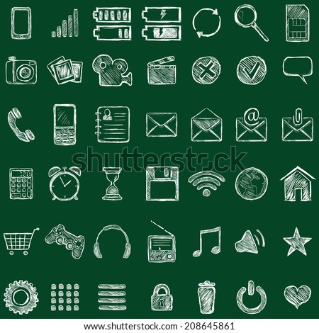 Vector Set of Sketch Mobile Icons. Chalk on a Blackboard. - stock vector