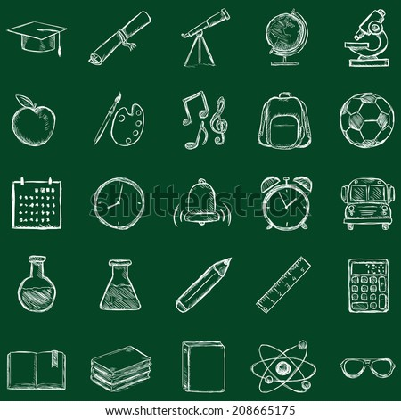 Vector Set of 25 Sketch School Icons. Chalk on a Blackboard. - stock vector