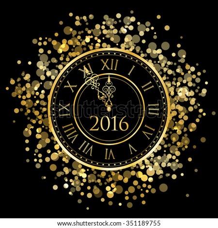 2016 - Vector shiny New Year Clock - stock vector