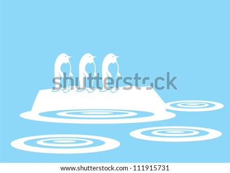 Vector silhouette penguins on a ice. - stock vector