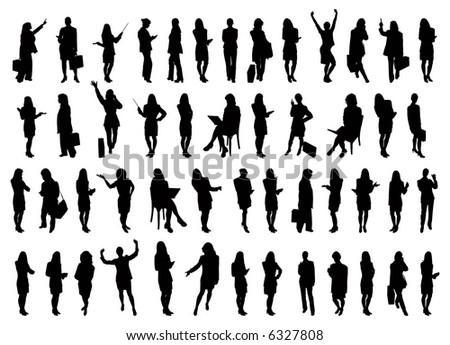 50 Vector silhouettes of businesswomen - stock vector