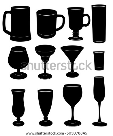 Vector silhouettes of glasses and glasses.