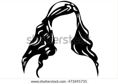vector sketch of a white woman's face without eyes
