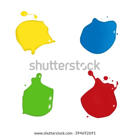 vector splats splashes and blobs of brightly colored paint in different shapes drips isolated on white  - stock vector