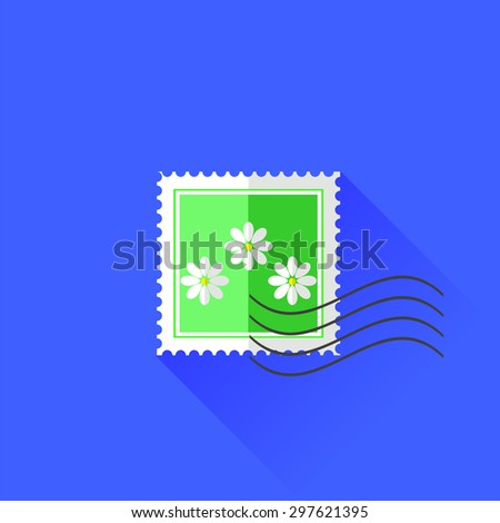 Vector Stamp with  White Flowers Isolated on Blue Background - stock vector