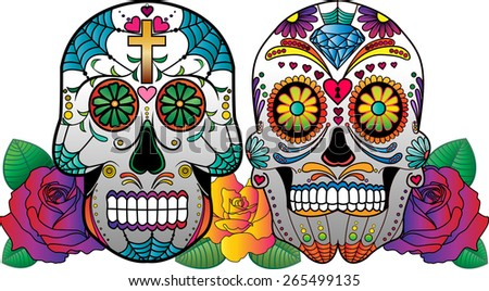 2 vector sugar skulls with roses on the side. - stock vector