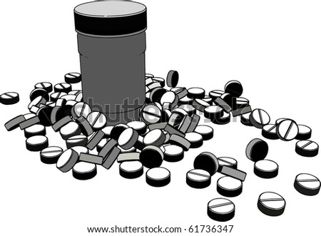 vector tablets of white jars scattered - stock vector