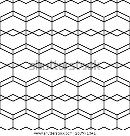 Vector texture background. Abstract seamless geometric monochrome pattern. - stock vector
