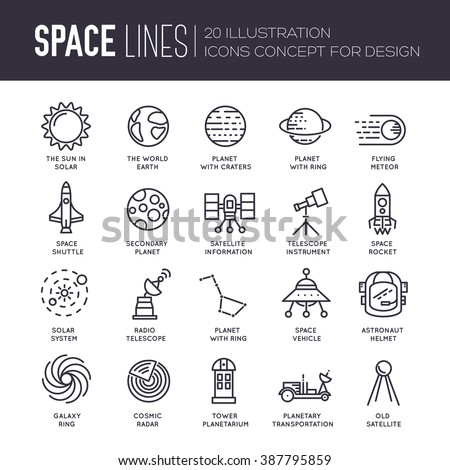 Vector thin lines icons stars in galaxy design concept. Set of huge space infographic universe illustration. Outer space rocket flying up into the solar system with a lot of planets background. - stock vector