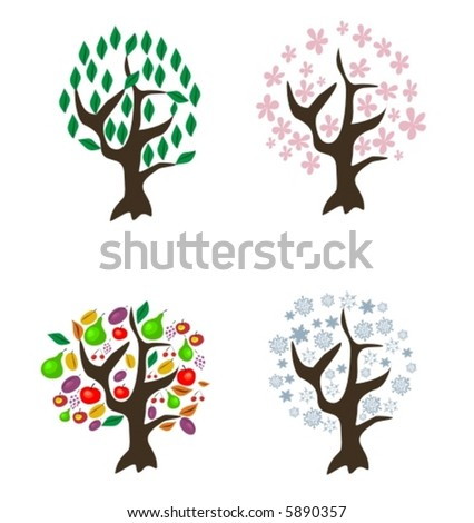4 vector-trees of different seasons - stock vector