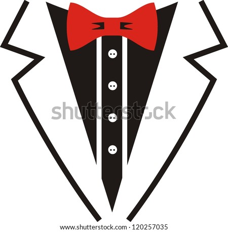 Vector tuxedo with red bow tie.