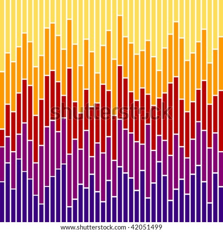 (Vector) Vertical stripes in sunset colours, based on bar charts. A jpg version is also available. - stock vector