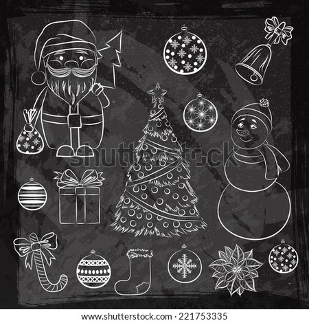 2015 Vector vintage chalk set Christmas and New Year's decorative elements. Suitable for various designs, invitation, thank you card, wrapping paper pattern and scrapbooking. Vector 10 EPS - stock vector