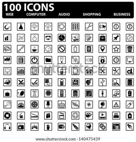 100 vector web icons set. Web, computer, business, shopping - stock vector