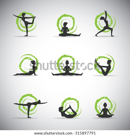 9 vector yoga pose silhouettes with green background - stock vector