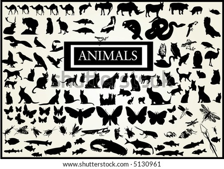120 vectors of animals