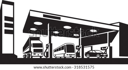 Vehicles at gasoline station - vector illustration - stock vector