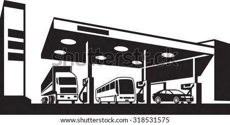 Vehicles at gasoline station - vector illustration - stock vector