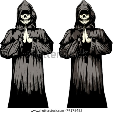 2 versions of a undead monk praying.