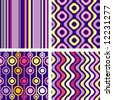 4 versions of retro seamless patterns - stock vector