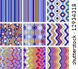 9 versions of retro seamless patterns - stock vector