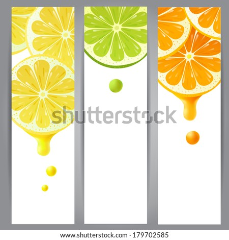 3 vertical banners with lemon, lime and orange - stock vector