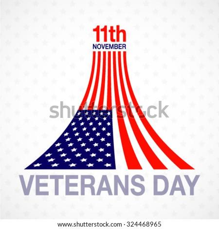 Veterans day flag design logo on white background. Vector emblem illustration - stock vector