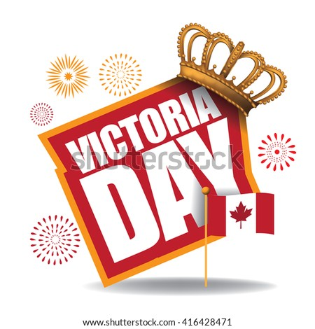 Victoria Day icon with Canada flag and crown. EPS 10 vector. - stock vector