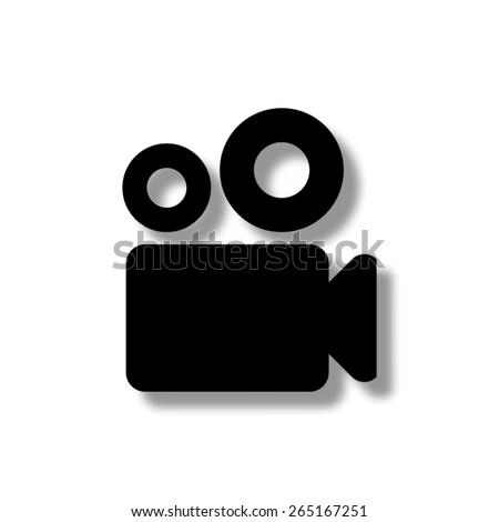 Video camera  - vector icon with shadow - stock vector