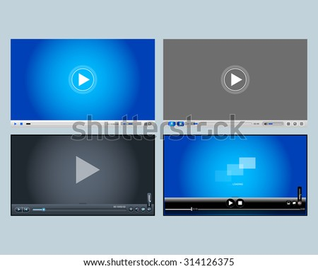4 video players, media player designs for web and mobile apps. Vector illustrations.  - stock vector