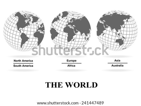 3 views of the world map , separate by continent , over lay on the sphere grid structure on white background (EPS10 art vector separate part by part) - stock vector