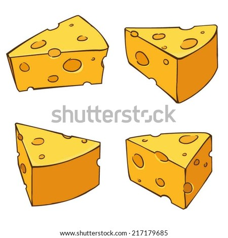 4 views yummy cheese comic style - stock vector