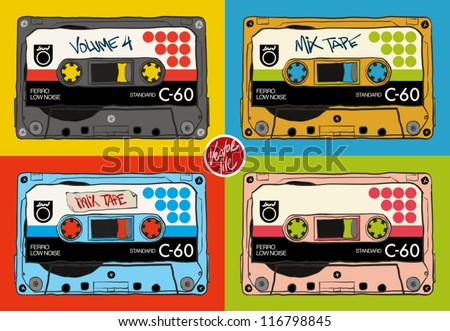 vintage audio tapes - stock vector