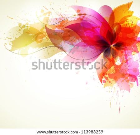 vintage Background abstract flower with colorful blots. Vector design - stock vector