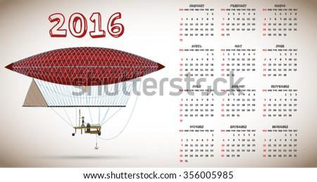 2016 vintage balloon calendar - stock vector