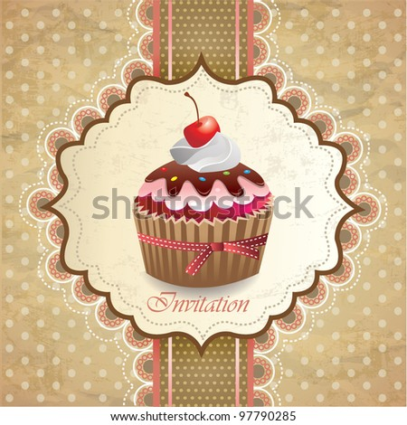 Vintage card with cupcake 014 - stock vector
