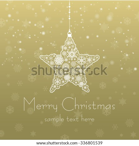 Vintage Christmas card with Christmas Star / Christmas background with Christmas ball illustration / Christmas star made of snowflakes isolated - stock vector
