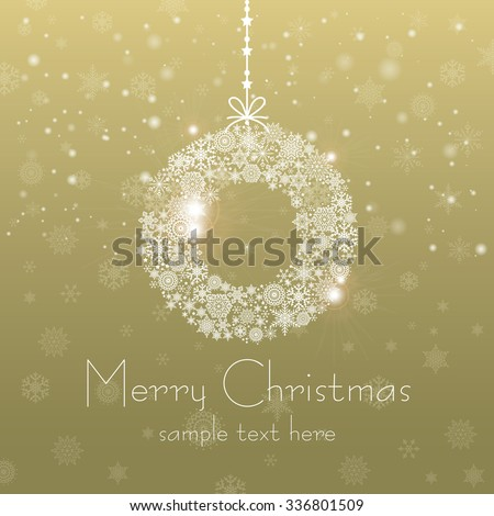Vintage Christmas card with Christmas Wreath / Christmas Wreathl made of snowflakes isolated - stock vector