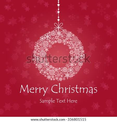 Vintage Christmas card with Christmas Wreath / Christmas Wreathl made of snowflakes isolated - stock vector